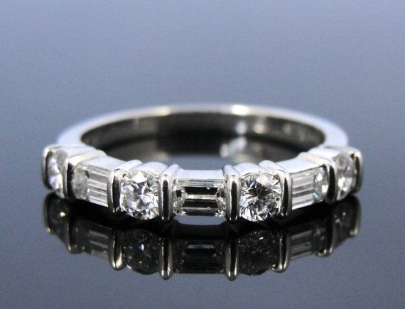 Vintage White Gold and Diamond Baguette Wedding Band by MSJewelers, $2245.00