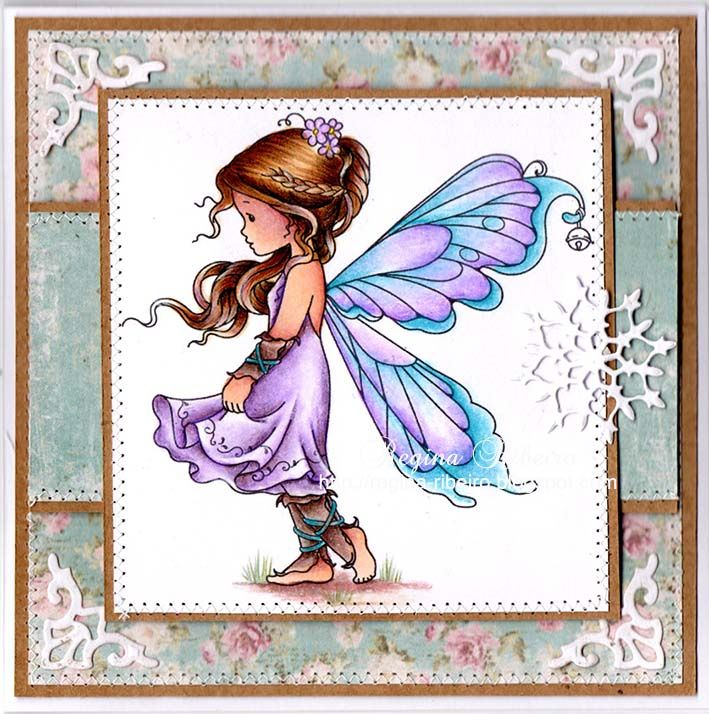 Regina Ribeiro: Silver Fairy - Wee Stamps. I like the patchwork background and use of die cuts. ...cute.
