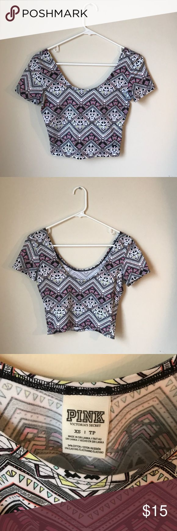 Victoria's Secret PINK Multi-colored crop top Victoria's Secret PINK crop top, size XS, worn once with a black, pink, white, yellow and blue pattern. PINK Victoria's Secret Tops Crop Tops