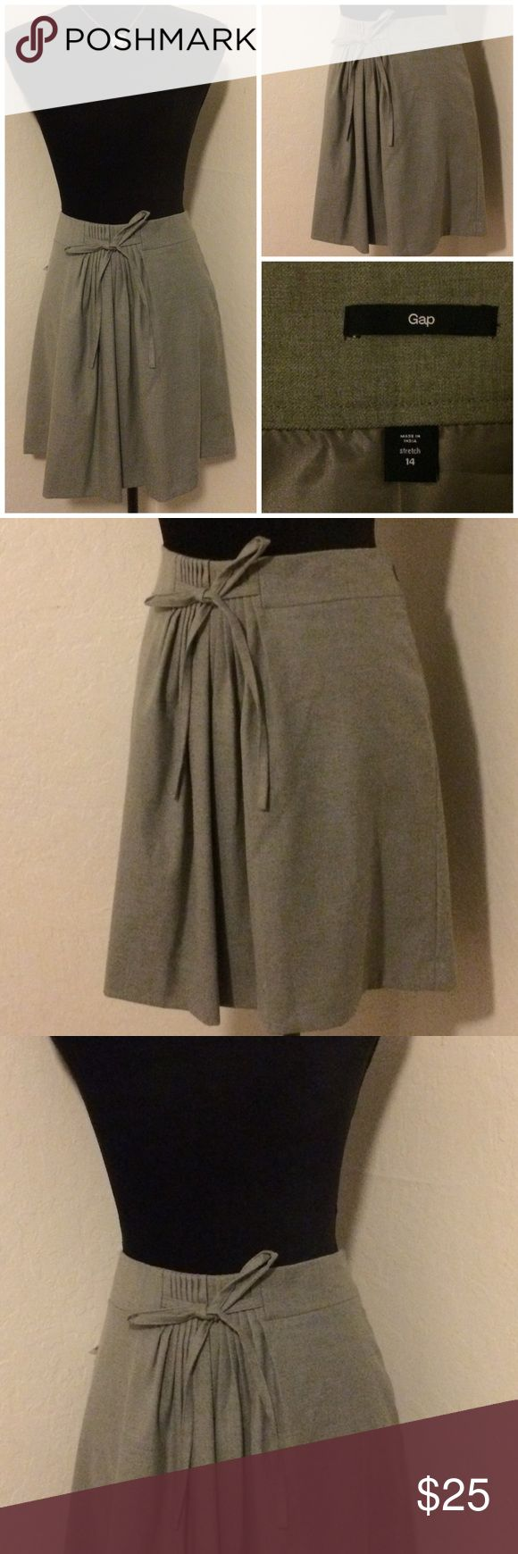 Gap Gray Mini Skirt For sale: NEW Women's Gap Gray Casual Work Line Tie Waist Detail Skirt, Sz 14. Skirt features some stretch for style and comfort and invisible side zipper. Faux adjustable tie front detail.  Interested? Like, share, bundle, buy! Banana Republic Skirts Mini