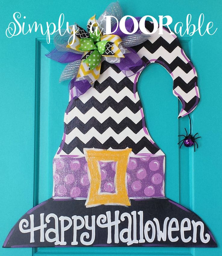 witch hat wood door hanger simply adoorablenc chevron witch hat halloween door decoration - Etsy Halloween Decorations