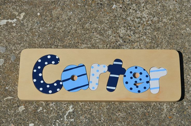 Personalised Name Puzzles - The Hive Fantastic hand made name puzzles From $31 for up to 6 letters and then you can embellish with stripes - dots, etc. www.thehivenz.co.nz/personalised-name-puzzles