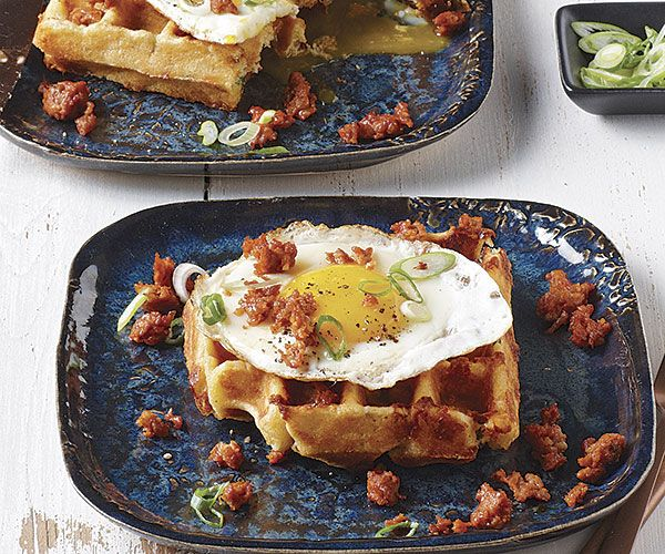 Cornmeal-Cheddar-Chipotle Waffles with Fried Egg and Chorizo Recipe