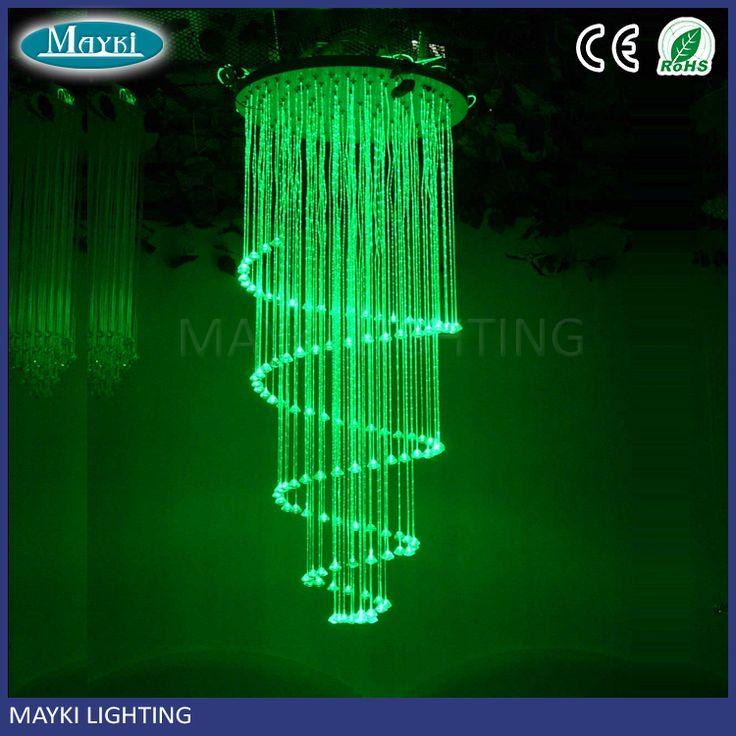 Special design hotel ceiling light crystal spiral fiber optic lighting pendant