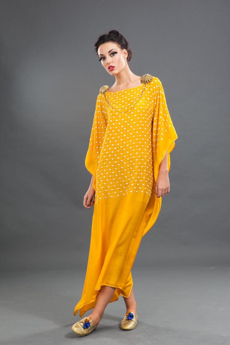 Yellow Kaftaan with hearts