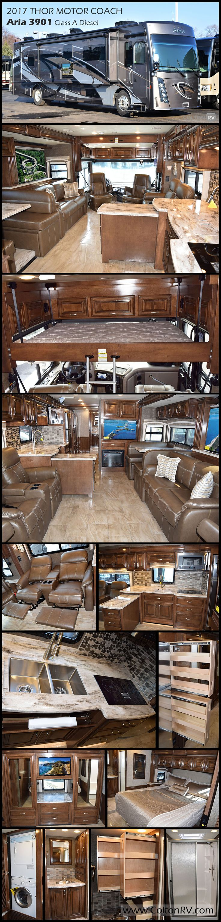 "The Aria is the newest member of Thor Motor Coach's luxury line of Class A diesel motorhomes. A few of the features in this 2017 ARIA 3901 Class A Diesel coach are: stackable washer and dryer, retractable 55"" LED HDTV in living area and a 43"" LED HDTV over the fireplace. Relax at the end of a fun-filled day in the master bedroom with its king size bed with Tilt-A-View inclining bed mechanism and private en suite bathroom"