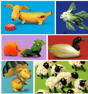 Joost Elffers and Saxton Freymann combines wicked sense of humor and fresh take on popular culture to make the whimsical animal scenes using vegetables and other stuff.