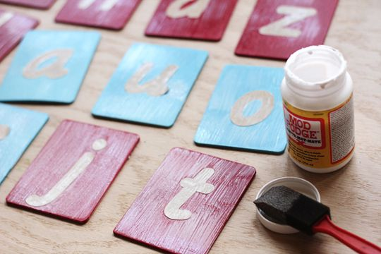 Make your own Montessori sandpaper letters with Silhouette and Mod Podge from Plaid to protect paint and letters