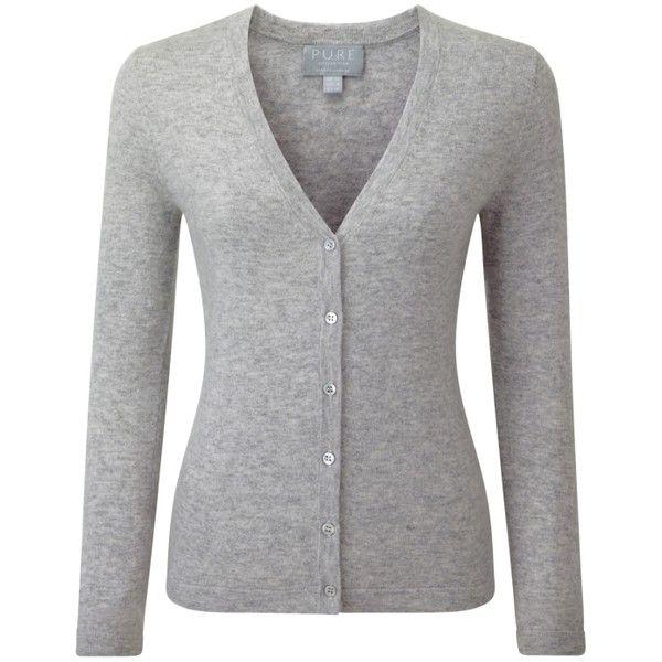 Cashmere V Neck Cardigan (£87) ❤ liked on Polyvore featuring tops, cardigans, cashmere tops, v-neck tops, cashmere cardigan, v-neck cardigan and cashmere v neck cardigan