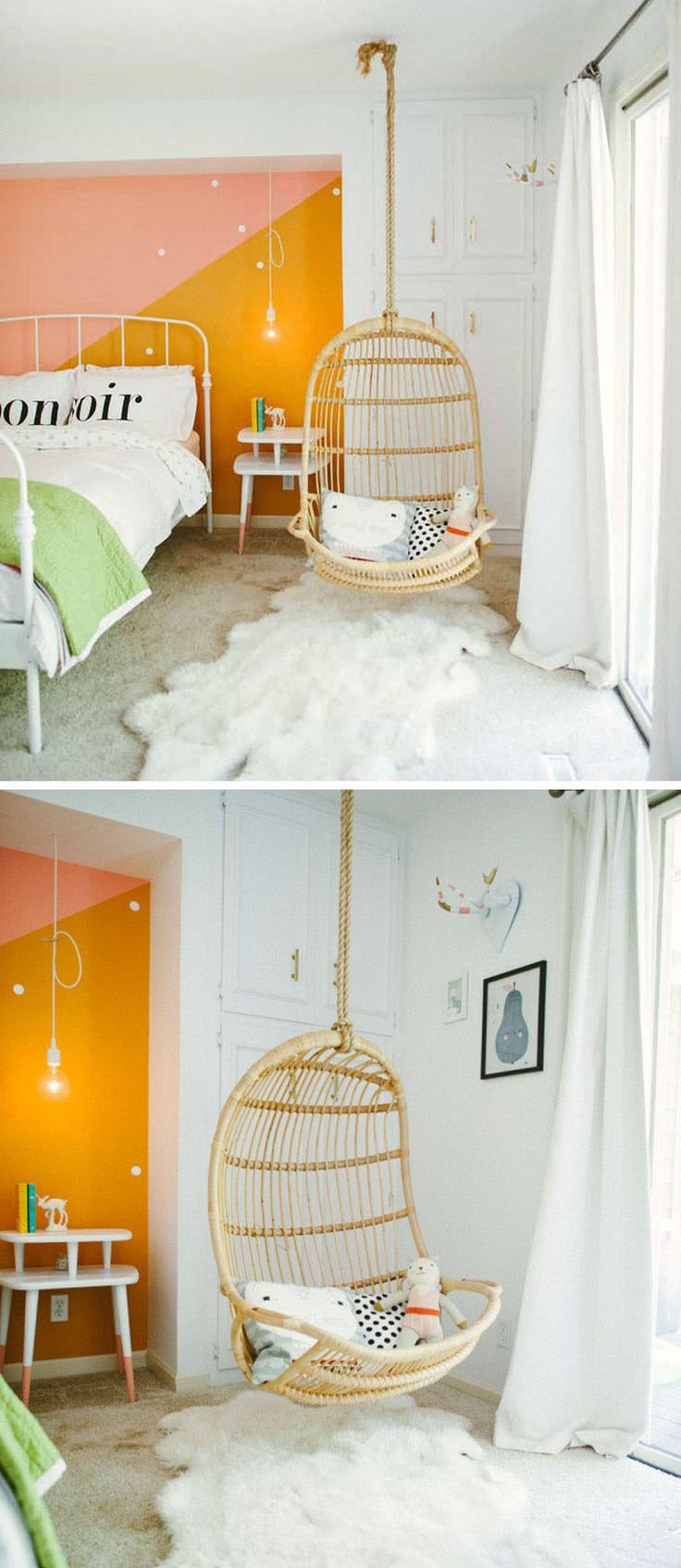This natural hanging chair is perfect for decorating a tween girls bedroom.