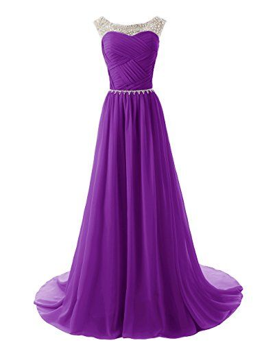 Dressystar Beaded Sleeveless Bridesmaid Dresses Prom Gown with Beads Embellished Waist Size 8 Purple List Price:$189.99 Now On Sale: $94.49