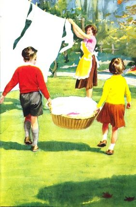 """""""Hanging Out The Washing"""" by J. H. Wingfield (Illustration from the Ladybird book 'Helping At Home')"""
