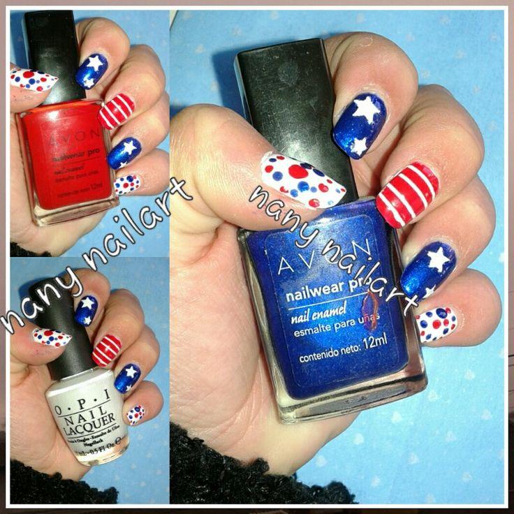 4th of july nail art. Diseño de uñas del 4 de julio