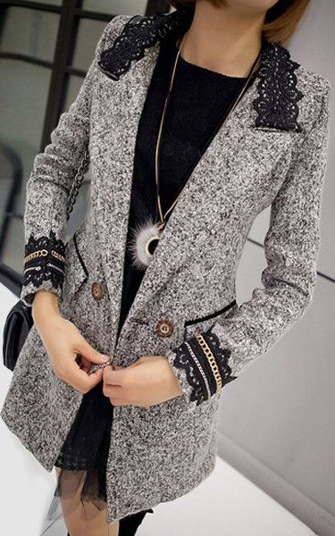 Marble Lace Collar Coat