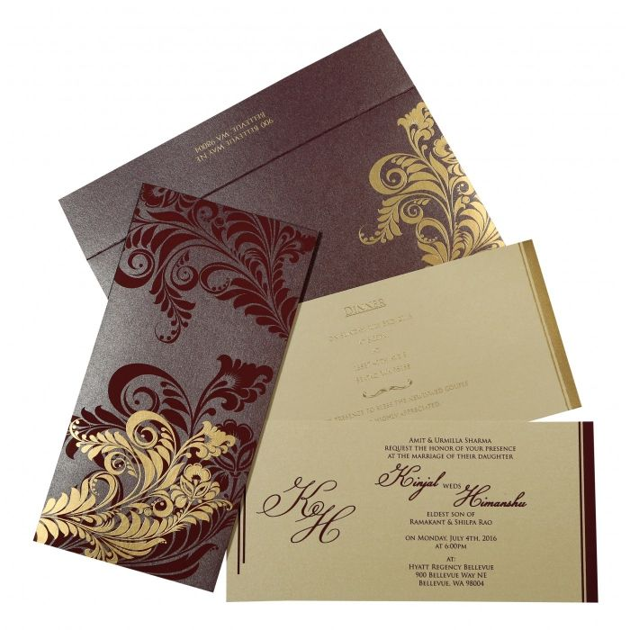 how to write muslim wedding invitation card%0A Purple shimmery floral themed  screen printed wedding invitations   d    f