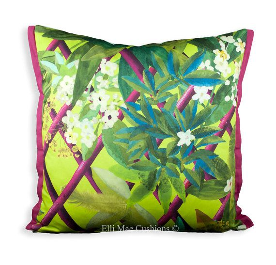 Christian Lacroix Canopy Designer Fabric Lime Pink Sofa Throw Pillow Cover.