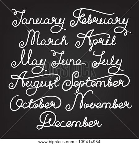 Handwritten months of the year: January, February, March, April, May, June, July, August, September, October, November, December. Calligraphy words for calendars and organizers. Stock vector lettering
