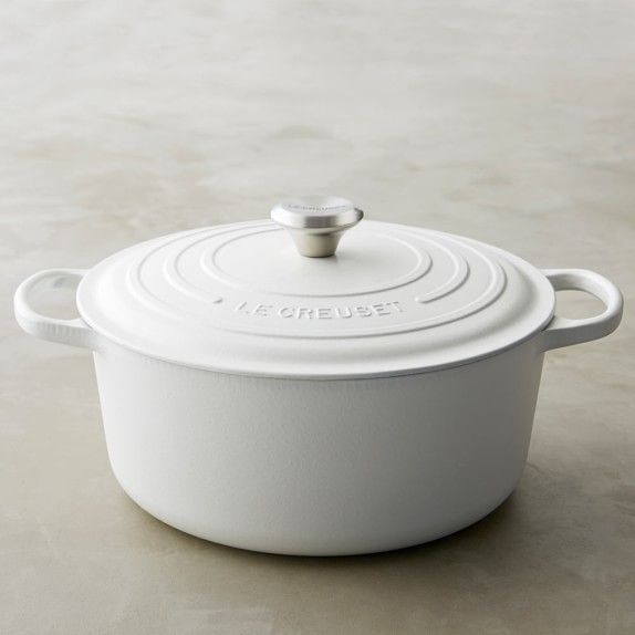 Le Creuset Signature Cast-Iron Round Dutch Oven | Williams-Sonoma -  Matte White $350  - 7 1/4 quart