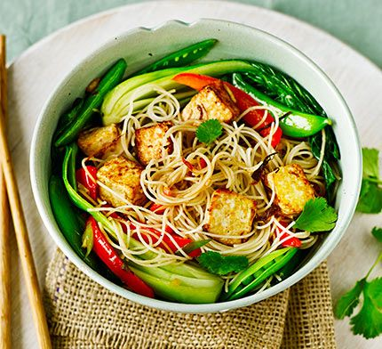 A vegetarian stir-fry packed with spice and flavour. Marinate tofu in ginger, garlic and sesame and serve with a vermicelli noodle mix