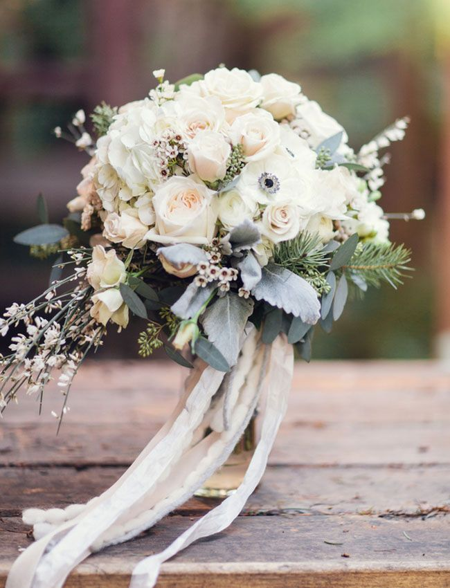 winter inspired bouquet wrapped in ribbon photo by Jennifer Fujikawa Photography #wedding #bouquet #flowers
