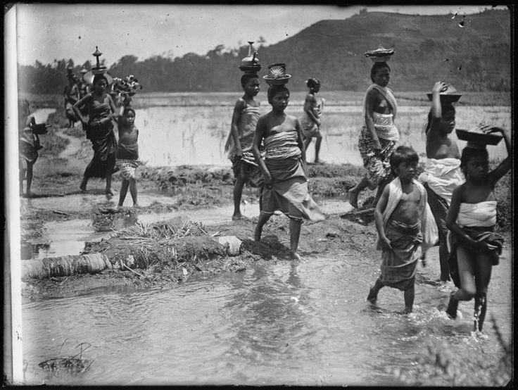Gregor (dr.) Krause | Waterhalen uit heilige bron voor lijkwassing, Bangli, Bali, Indonesië (1912-1914)