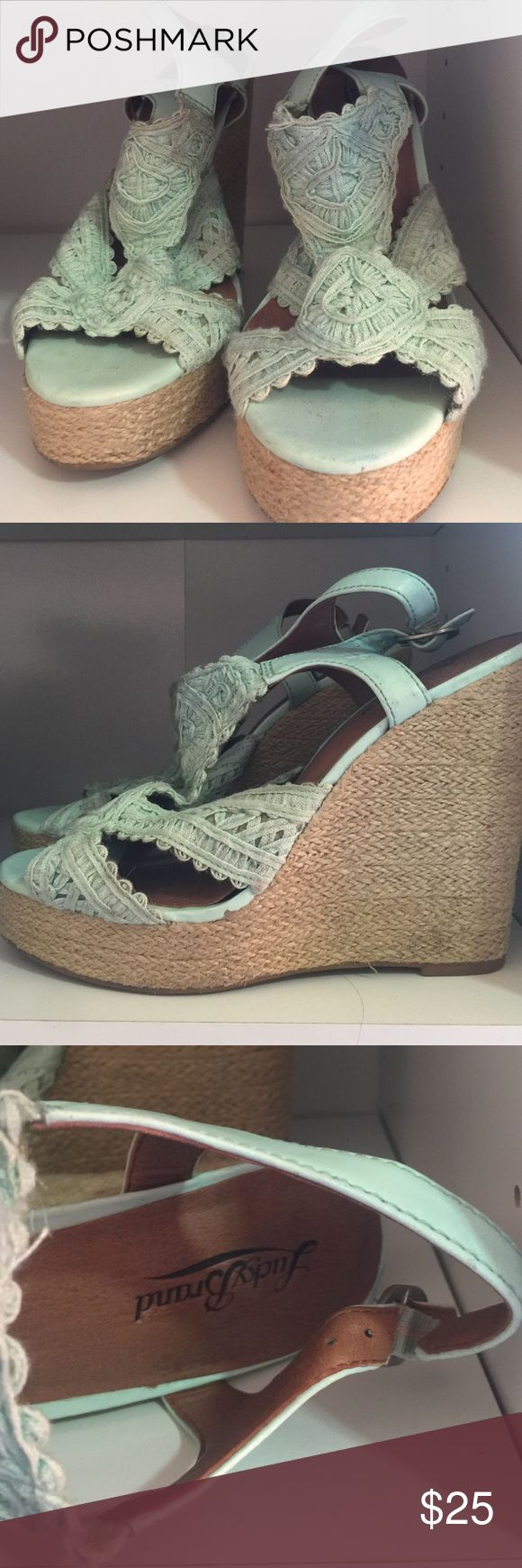 Lucky Brand Mint wedges heels Slightly dirty Mint Lucky Brand wedges-worn a few times. Lucky Brand Shoes Wedges