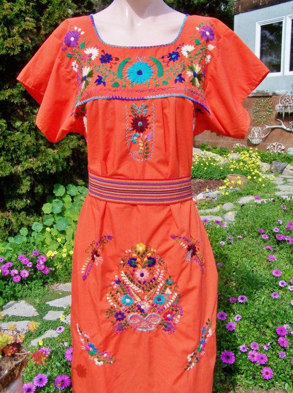 Robe mexicaine Orange mexicaine robe robe de brodé brodé
