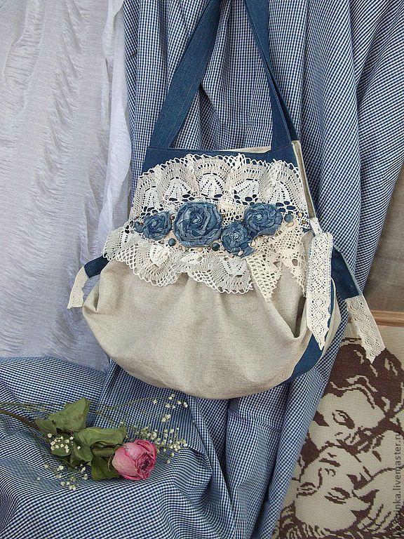 """Сумка""""Просто...о любви..."""" - белый,сумка женская,джинсовая сумка,джинсовый стиль"""