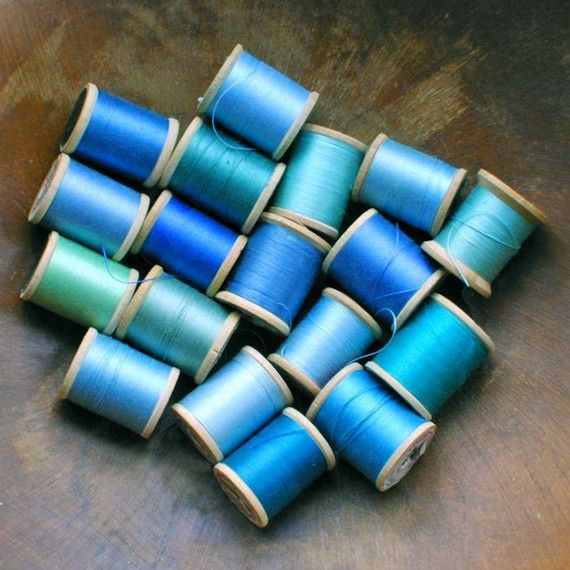 A little collection of sewing thread in aqua, turquoise, cyan, cerulean, robin's egg, and other shades of blue