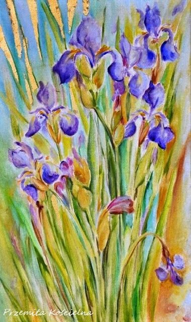 """""""Irises - fire of my soul"""" , Oil painting with gold leafs. #art #oilpainting #flowers #irises"""" #gold #leaf #soul #canisartstudio"""