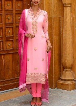 Baby Pink Georgette Salwar Suit