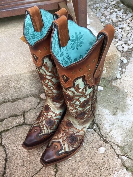 Corral Ladies Mint Maple Flower Overlay and Studs Cowgirl Boots C3176   eBay