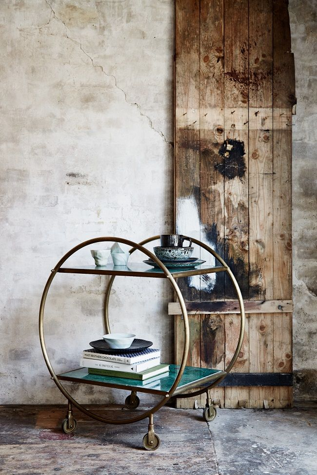 drinks trolleys, brass, round, rose and grey