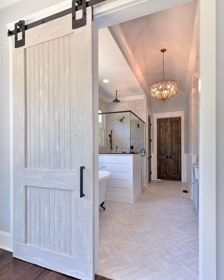 Neutral Monochromatic Bathroom Inpsiration Rusticahardware Sliding Barn Doors