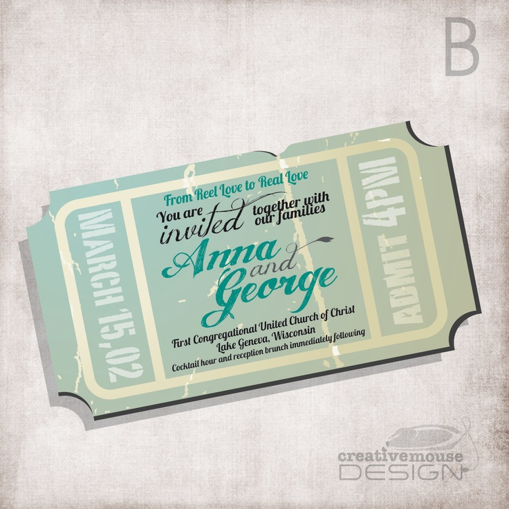 are labels on wedding invitations tacky%0A Wedding Invitation movie ticket   FILE ONLY         USD  via Etsy