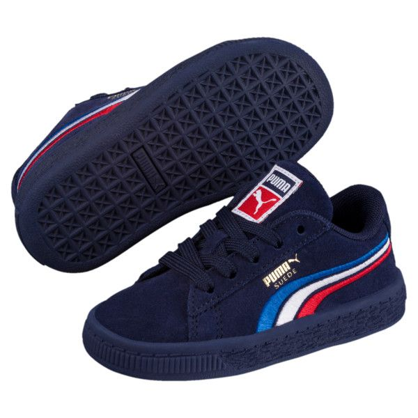 Image 2 of Suede Classic Multicolour Embroidery Baby s Sneakers in Peacoat- White-Red-Blue 7fc8f9783