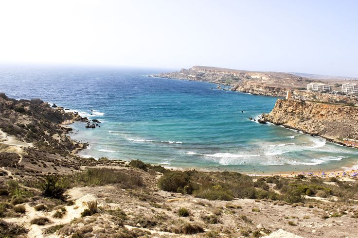 riviera bay with waves, malta