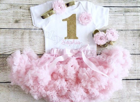 Personalizzato rosa & oro primo compleanno Tutu vestito