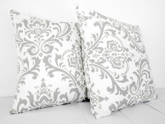 Grey Damask White Pillow Covers 18 inch: Pillows Covers, Covers 18, Etsy Etsysn, 45 00 Grey, White Pillows, Grey Damasks, Damasks White, Covers Etsy, 4500 Grey