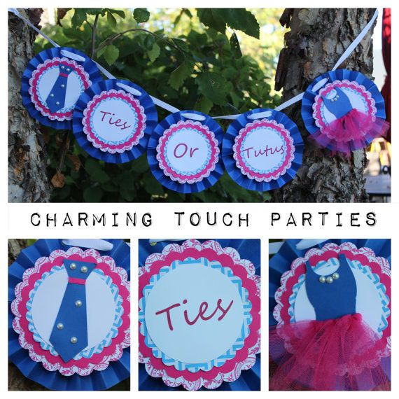 Custom Ties and/or Tutus rosette banner (you choose colors) on Etsy, $25.00