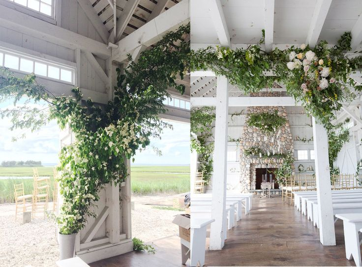 Boathouse Chapel Flowers, June Wedding at Bonnet Island Estate