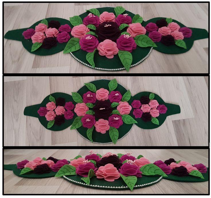 Keçe çiçekli runner / felt flower runner