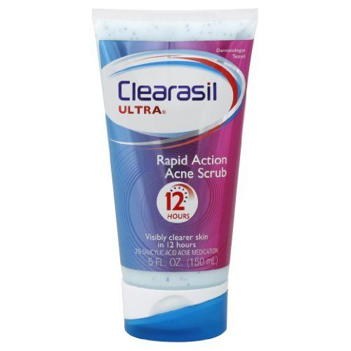 Clearasil  Ultra Rapid Action Acne Scrub 5 Ounce. by Clearasil. $6.43. Amazon.com Product Description       Dermatologist-tested CLEARASIL Ultra Rapid Action Face Scrub works quickly to give you visibly clearer skin in as little as 12 hours. Featuring maximum-strength acne medication, the Rapid Action Acne Scrub is scientifically formulated to reduce redness and the size of pimples.Ultra Rapid Action Face ScrubAt a Glance:Visibly clearer skin in as little as 12 hoursExfoliatin...
