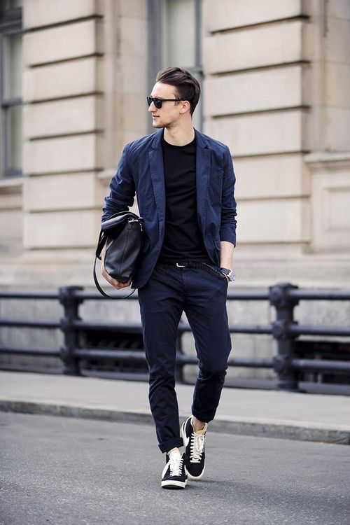 712b4a7cd8  marcelfloruss - with a navy business casual combo with a black t shirt  sunglasses no show socks classic black and white nike sneakers   businesscasual  nike ...