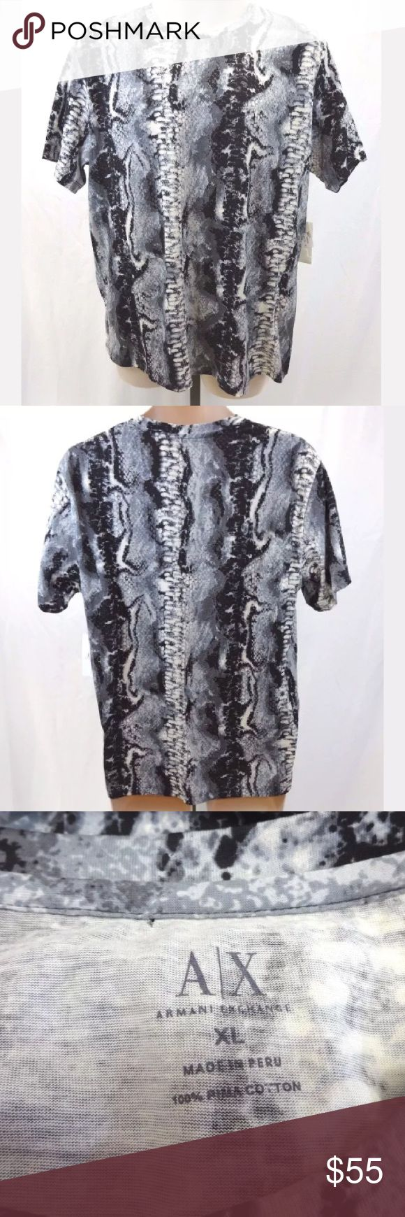 Armani exchange men's XL t-shirt NWT gray snake Armani Exchange men's t-shirt Color (according to tag) is called Smoke - Gray, black and white snakeprint design Men's Size XL 100% Pima Cotton Measures approximately: chest 45 inches, shoulders 19 inches, sleeves 8.25 inches, length 27.5 inches Shirt is new with tags, however there is a small pinhole near the top where the collar is in back. It may have been from another tag or pin.  669-55 A/X Armani Exchange Shirts Tees - Short Sleeve