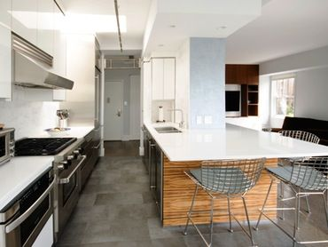 Modern Open Kitchen with Custom Redgum Veneer Island Table & Cabinetry   Dining  Kitchen  Modern by Paula McDonald Design Build & Interiors