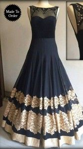 Oh my gosh! is this really you ? No wonder everybody gonna ask you that if you can get your hands on this amazingly beautiful georgette long gown, black gown . Zari, Embroidery and lace work is glorious. Any color combination is possible. Can be made in large sizes also. This is a custom made design which can be made in any color and size...