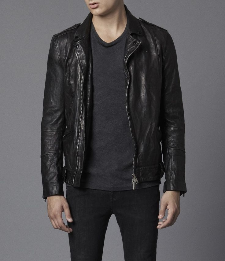 Might have to go with #leather this winter.  AllSaints Griffin Leather Biker Jacket | Mens Leather Jackets
