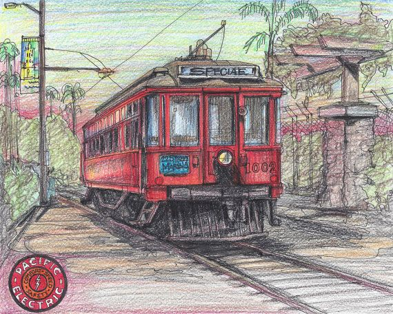 1901 1960 Pacific Electric Railway Railroad Car by TimelessForever, $14.99