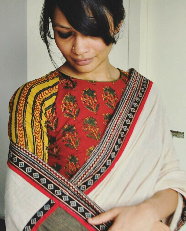 High neck multi-patch blouse pattern inspiration to go with plain color sarees.